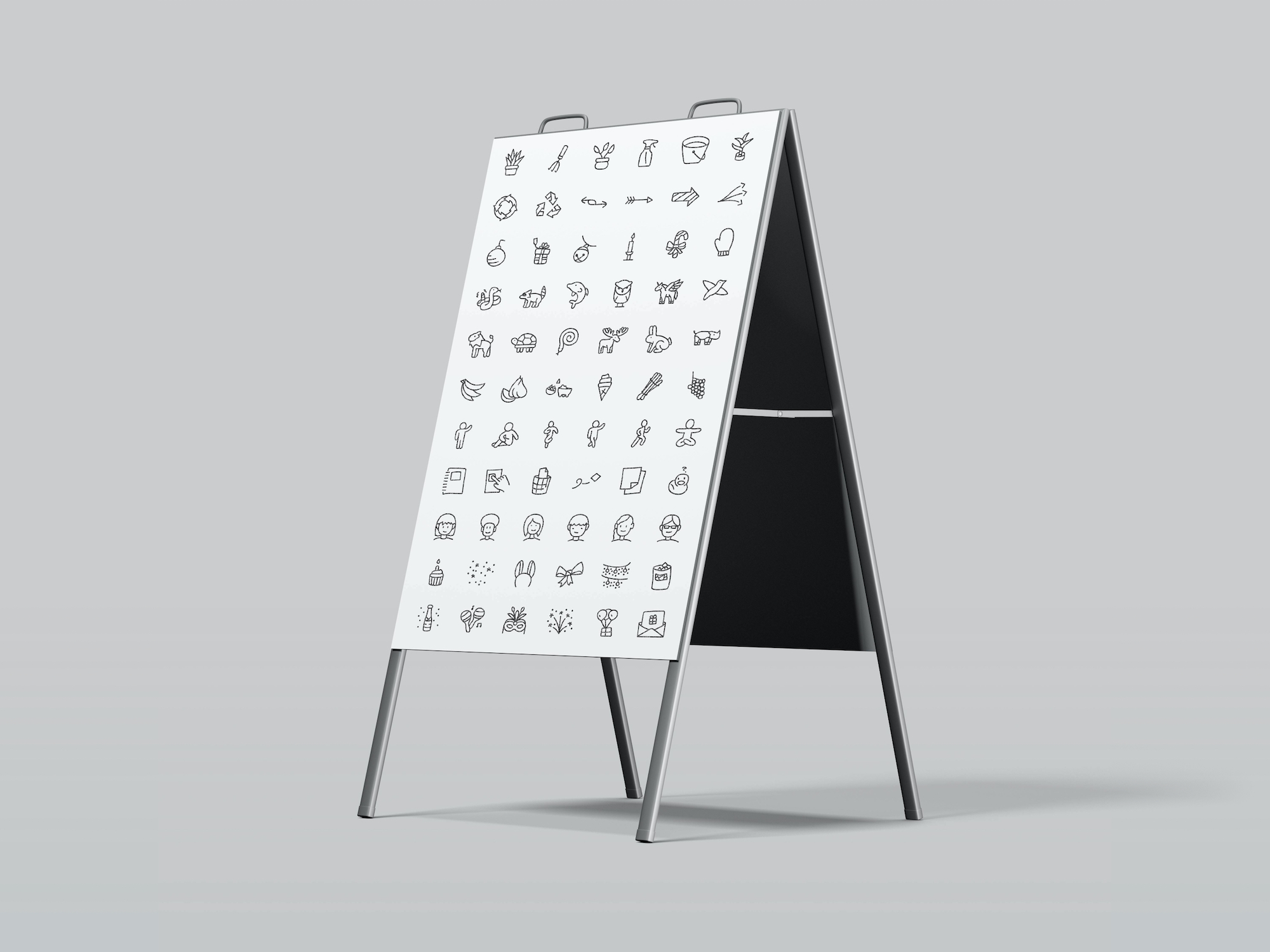 Icons on fold out sign